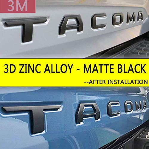 Auto Rover 3D Raised Tailgate Zinc Alloy Letters for Toyota Tacoma 2014-2019 Metal Inserts with 3M adhesive backing (Matte Black) (Best Auto Wax 2019)
