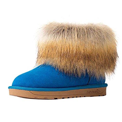 HooH Women's Nubuck Simple Snow Boots 5889 Blue kvSqpsGD