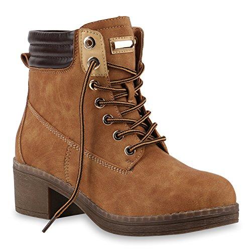 Stiefelparadies Damen Stiefeletten Blockabsatz Boots Schnürstiefel Profilsohle Flandell Hellbraun Berkley
