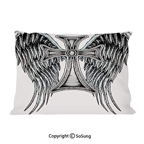 Gothic Decor Bed Pillow Case/Shams Set of 2,Heraldic Wing and Cross Belief Ancient Symbol of Power Royalty Artistic Design King Size Without Insert (2 Pack Pillowcase 36