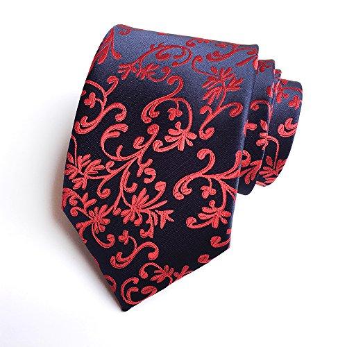 Duchamp Ties - Secdtie Men Floral Tie Navy Red Black Jacquard Woven Silk Business Necktie YUE11