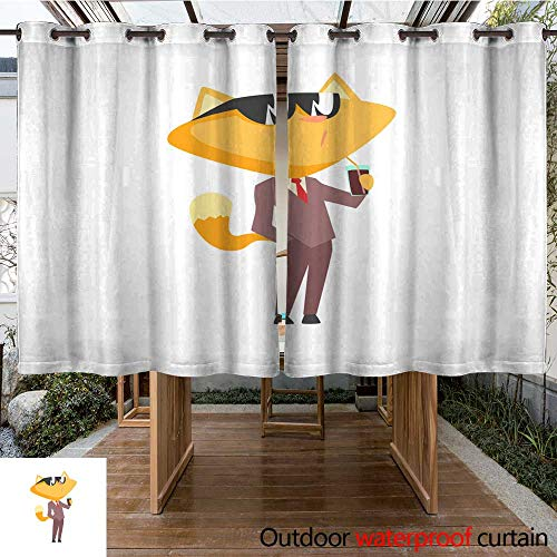 RenteriaDecor Outdoor Curtains for Patio Waterproof Funny Businessman Fox in a Suit and Sunglasses Standing and Drinking Through a Straw Cute Animal boss Character Cartoon W108 x L72