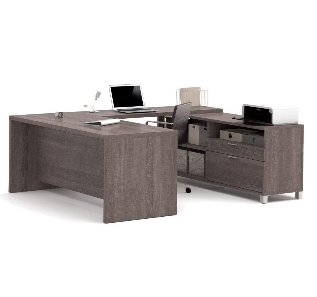 Bestar Pro-Linea U-Desk, Bark Grey