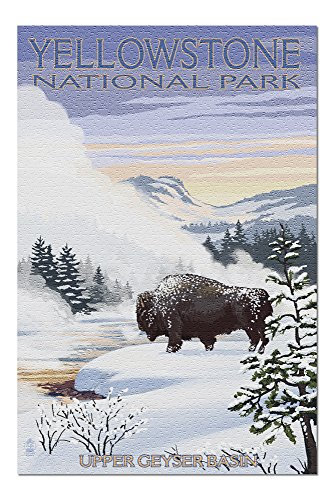 Yellowstone National Park, Wyoming - Bison Snow Scene (20x30 Premium 1000 Piece Jigsaw Puzzle, Made in USA!) ()
