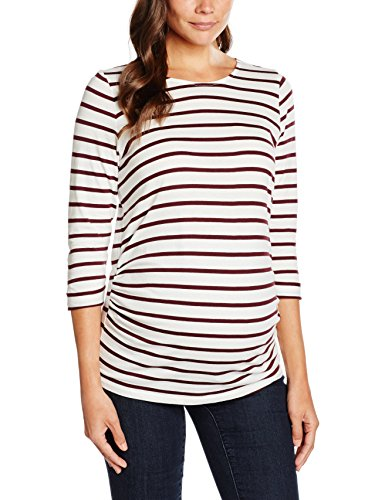 New Look Damen Umstands T-Shirt Breton, Rot-Red (Red Patterned), 36
