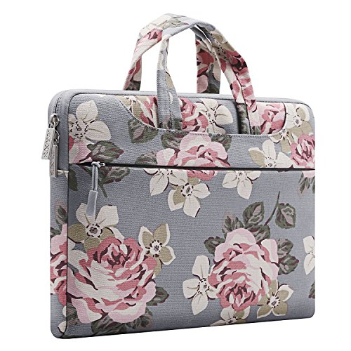MOSISO Laptop Shoulder Bag Compatible 13-13.3 Inch MacBook Pro, MacBook Air, Surface Book, Notebook Computer, Canvas Rose Pattern Laptop Shoulder Messenger Handbag Case Cover Sleeve, Gray by MOSISO (Image #7)