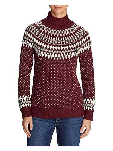 Eddie Bauer Women's Arctic Fair Isle Sweater, Dk Berry Regular XS ()