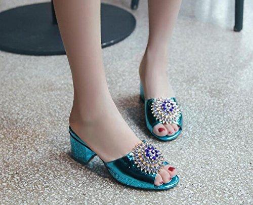 PBXP Hausschuhe OL 6 cm Chunky Ferse Elegante Strass Blumen Dekoration Anti-Rutsch Komfortable Casual Fashion Schuhe EU Größe 34-40 , blue , 36