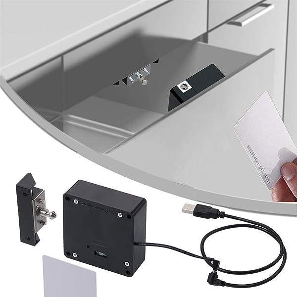 RFID IC Card Sensor Cabinet Drawer Smart Lock 2*AA Battery Two Unlock Modes Y4E5