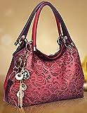 Casual Red Leather Handbags Casual Tote Vintage Messenger Handbags Leisure Shoulder Handbags