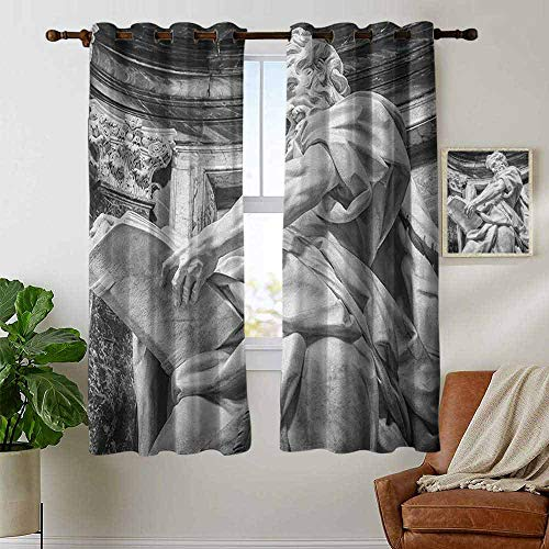 (Kitchen Curtains Sculptures,Statue of St. Matthew at Basilica of St. John Lateran Rome Cathedra with Pillars, Pale Grey,Rod Pocket Drapes Thermal Insulated Panels Home décor 42