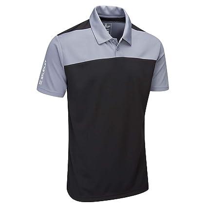 add410758 Stuburt Golf 2019 Mens Sport Tech Leyburn Moisture Wicking Golf Polo Shirt  Black Medium