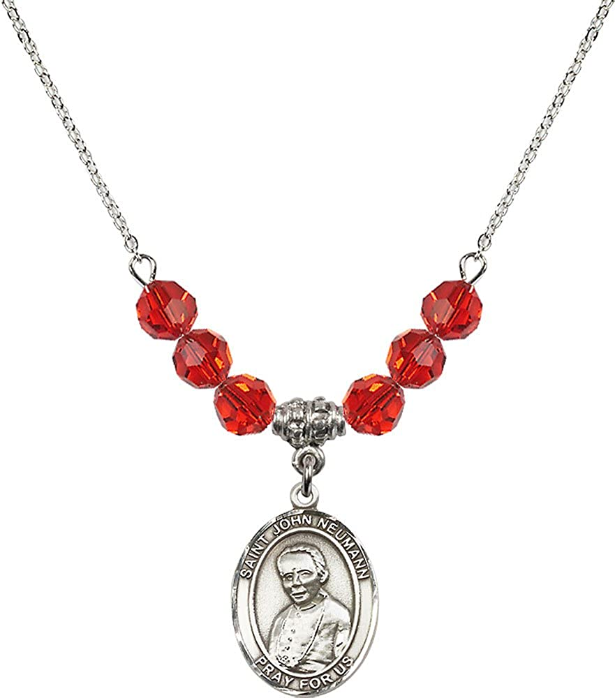 18-Inch Rhodium Plated Necklace with 6mm Ruby Birthstone Beads and Sterling Silver Saint John Neumann Charm.