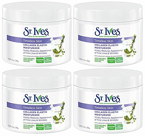 St. Ives Timeless Skin Collagen Elastin Facial Moisturizer, 10 Ounce, (Pack of 4)