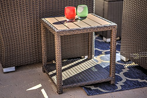 American Patio - Outdoor End Table All Weather Wicker and Polywood, Espresso, 18.11
