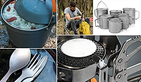 Acier inoxydable dalcool R/échaud ext/érieur pique-nique barbecue randonn/ée Camping R/échaud de cuisson Joyooo R/échaud de camping po/êle /à bois pliable portable l/éger Titane pur R/échaud