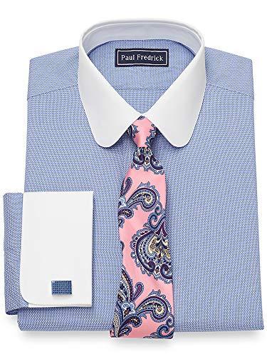 (Paul Fredrick Men's Cotton Textured Pattern French Cuff Dress Shirt Blue 16.5/33)