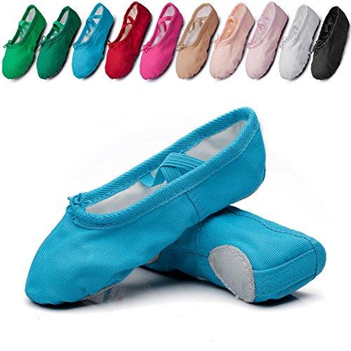 Canvas Kid Ballet Dancing Yoga Performance Flats,Blue,Toddler,9.5M US