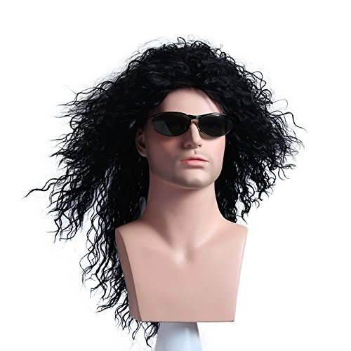 Menoqi Mens Retro 70s 80s Disco Rocker Long Curly Wig Full Hair Wig Fancy Party Accessory Cosplay Wig Mullet Wig (Black) WIG136 (80s Hair Wig)