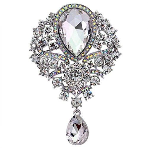 Id Rose Brooch (Usstore 1PC Lady Large Rhinestone Drop Brooch Wedding Decorate Gift (White))