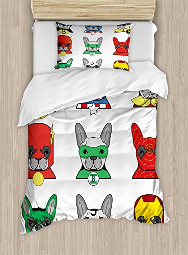 Ambesonne Superhero Duvet Cover Set Twin Size, Bulldog Superheroes Fun Cartoon Puppies in Disguise Costume Dogs with Masks Print, Decorative 2 Piece Bedding Set with 1 Pillow Sham, White Grey