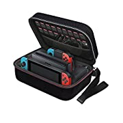 #LightningDeal 93% claimed: Nintendo Switch Game Traveler Deluxe and Storage Case,iVoler Portable Nintendo Switch Carrying-All Protective Hard Messenger Bag Soft Lining Pouch 18 Games For Switch Console &Accessories, Black