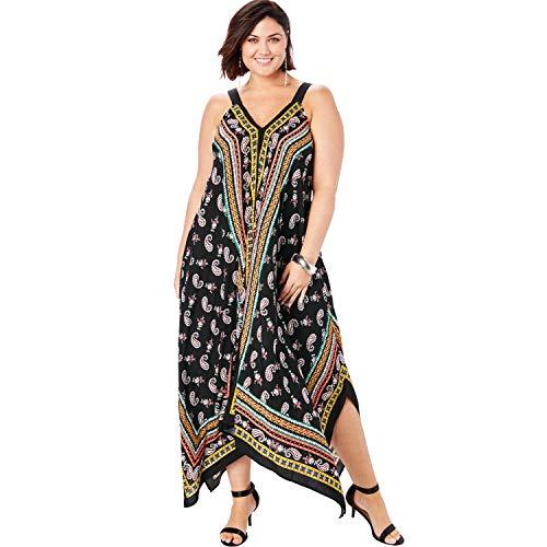 Roamans Women's Plus Size Scarf-Print Maxi Dress with