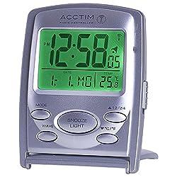 Acctim Vista MSF Radio Controlled Multi Functional LCD Travel Alarm Clock
