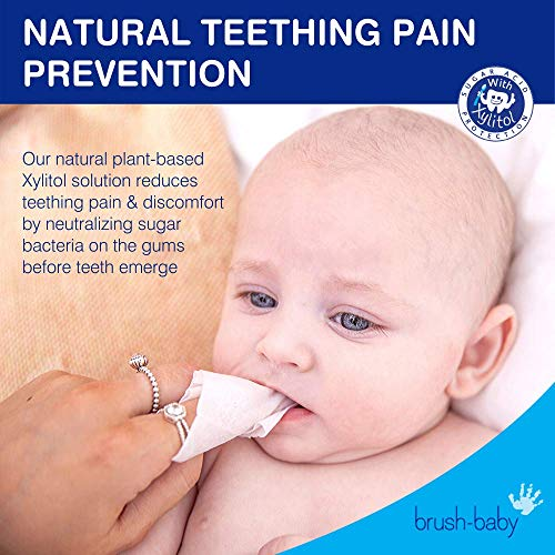 51ACseNqR9L - Brush Baby Teething Relief Dental Wipes For Ages 0-Toddler - Naturally Eliminate Teething Pain, Prevent Tooth Decay And Sour Milk Breath - 28 Finger Wipes (2-Pack)