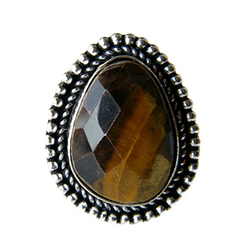 African Designer Ring (Tiger Eye Ring Silver Plated Ring Handmade Designer Ring Jewelry, (Ring Size 9 USA) AH-7733)