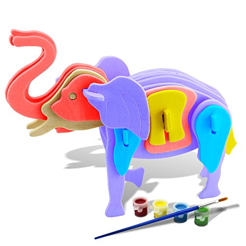 Bfun Woodcraft 3D Puzzle Assemble and Paint DIY Toy Kit, Elephant