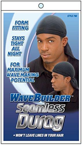 (WaveBuilder Premium Hair Wave Seamless Durag, Black)