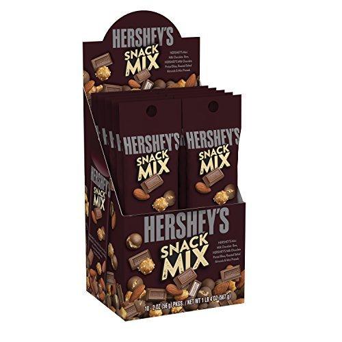 Hershey's Milk Chocolate Snack Mix Mini Pretzels , Almonds 2 oz Bag each (10 ct) by Hershey's by HERSHEY'S