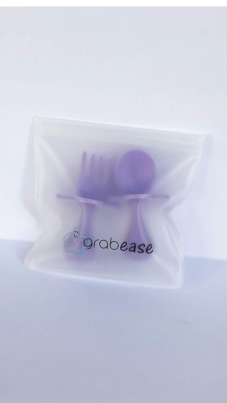 White Grabease First Self Feeding Utensil Set Of Spoon And Fork.