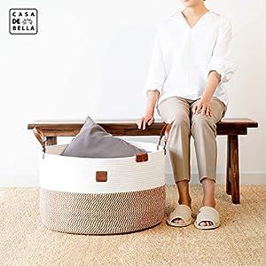 Romantic Brown XXXLarge Laundry Basket – 21.7×21.7×13.8″ Cotton Rope Basket for Blankets Kids Toys Storage Baskets Handle Comforter Cushions Storage Bins Baby Nursery Organizer or Hamper