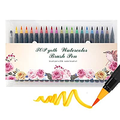 Watercolor Pens Watercolor Pen BrushTOPyoth 20 Colors Drawing Brushes Bright Ink Smooth Soft Tip Blend Well Painting Perfect for Small or Medium Details 0.8mm Coloring Books Cards Diary Comics