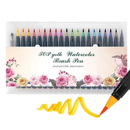 Watercolor Brush Markers Pen TOPyoth 20 Colors Drawing Brushes Bright Ink Watercolor Pen Smooth Soft Tip Blend Well Painting Perfect for Small or Medium Details 0.8mm Coloring Books Cards Diary Comics