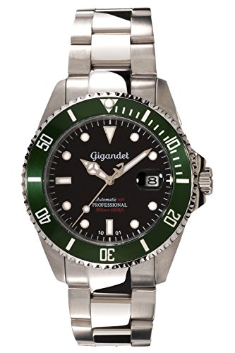 Gigandet Men's Automatic Pro Diver Watch Sea Ground Analog Stainless Steel 30atm Black Green G2-005