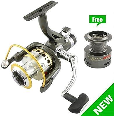 Metal Suave lurehunter Carretes Spinning – 9 Rodamientos de bolas Pesca de Carpa Carrete de pesca Bait Runner + 1RB – Rueda Bass Pesca y pesca de agua salada (1 Carrete de