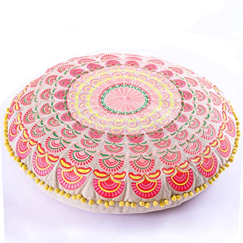 Mandala Life ART Bohemian Floor Cushion -Stuffed - Luxury, Artisan Room Décor Pouf for Meditation, Yoga, and Boho Chic Seating Area Floor Pillow - Accent Your Living Room, Bedroom, More