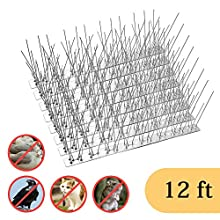 OFFO Bird Spikes with Stainless Steel Base, Durable Bird Repellent Spikes Arrow Cat Spikes Fence Kit for Deterring Pigeon, Crows and Woodpeckers, 12 Feet, Set of 11