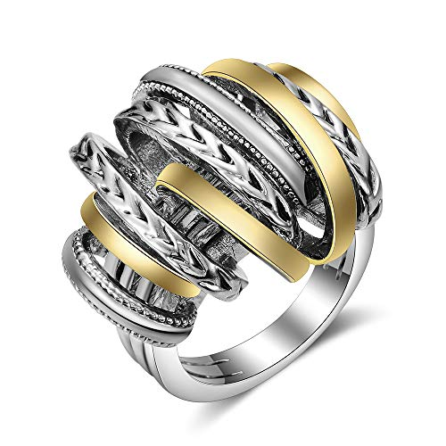 (Mytys Cable Silver Rings 2 Tone Gold Designer Knot Intertwined Crossover Finger Statement Ring for Women Men)