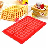 ZJCilected 4 Cavity Non-Stick Silicone Waffle Mold Waffle Cookie Silicone Pan Tray Kitchen Baking Tool