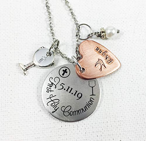 First Holy Communion Hand Stamped Silver Aluminum Necklace