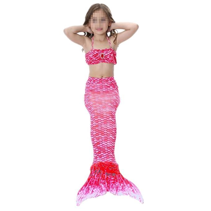 Prettycos Bikini Traje de Bano Sirena para ninos Mermaid Swimsuit Kids 3pcs Disfraz de Sirena Cosplay