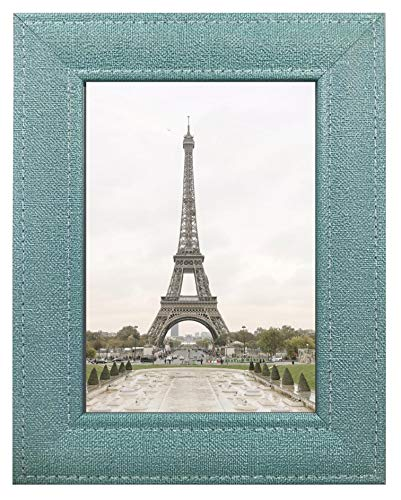 Harmony Frames 5x7 Fabric Design Wood Picture Frame Wall and Tabletop Gallery Display, Teal