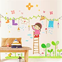 Mr.S Shop Cartoon Little Girl Clothesline Wall Stickers Kids Bedroom wall decoration kindergarten classroom Mural Decal