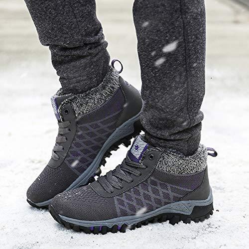 de Zapatos Antideslizante Botines Mujer Invierno Botas Cortas tqgold de Deportes Nieve Gris Forrada Cordones nxEvqw