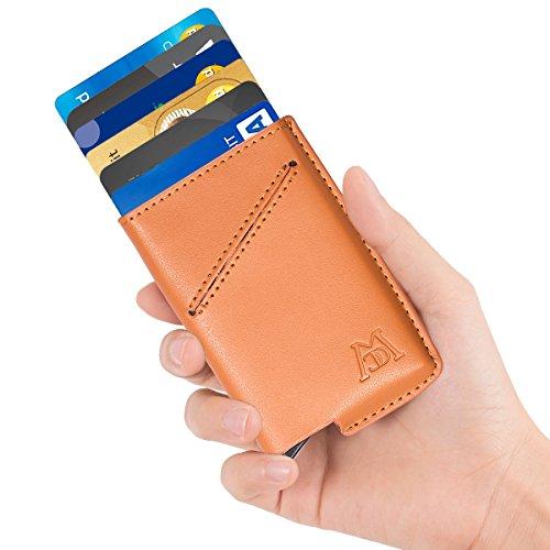 ManChDa RFID Blocking Leather Business Card Holder Credit Card Case Wallet (Black) (Khaki)