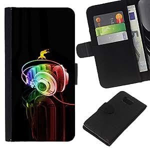 KingStore / Leather Etui en cuir / Samsung ALPHA G850 / Auriculares Música Arte colorido del arco iris Danza